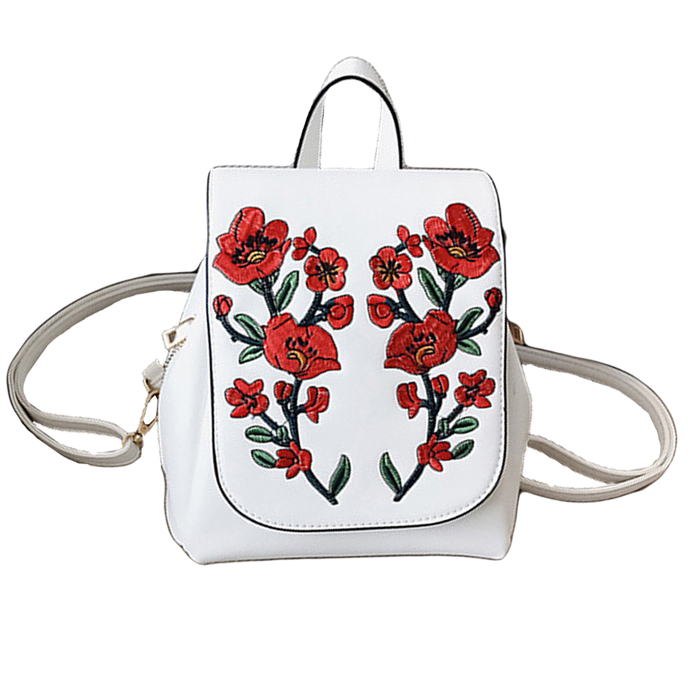 SFG HOUSE Fashion Women PU Leather Backpack 2017 Girls Flower Embroidery Shoulder Bags Schoolbag Korean Style