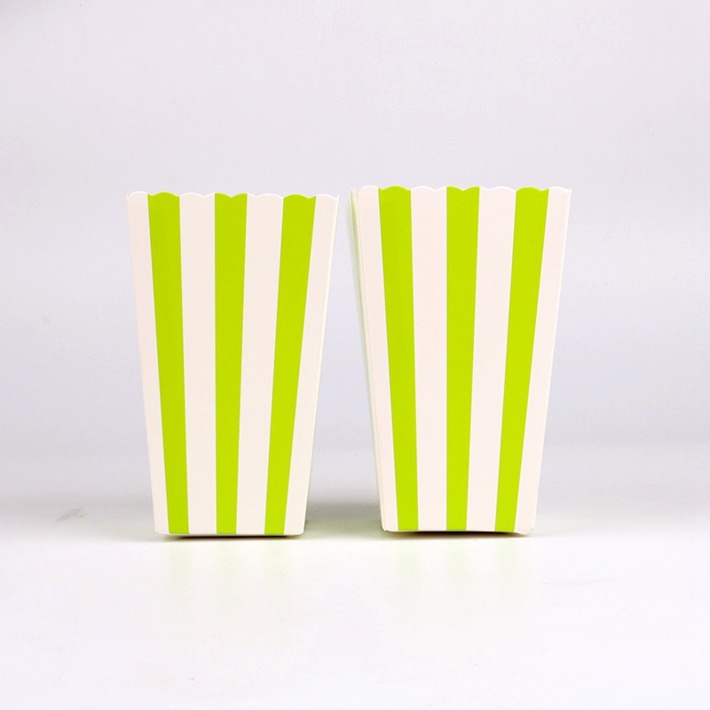 Considerate 6 Pcs/lot Simple Green Stripes Popcorn Boxes Birthday Party Wedding Baby Shower Party Decorations Kids Event Supplies Excellent Quality In