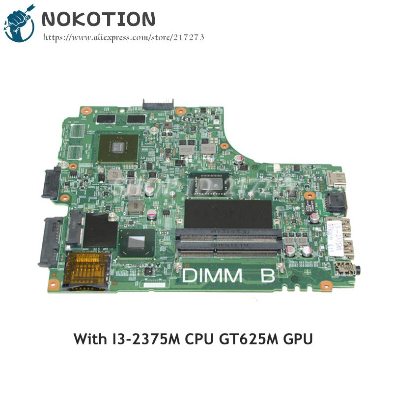 NOKOTION For Dell Inspiron 2421 3421 Laptop Motherboard SR0U4 I3-2375M DDR3 GT625M GPU CN-0THCP7 0THCP7 MAN BOARD nokotion 5j8y4 cn 0pfpw6 0pfpw6 pfpw6 main board for dell inspiron 2421 3421 5421 laptop motherboard sr105 2127u gt625m works