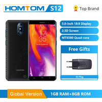 Original Global Version HOMTOM S12 Full Screen Mobile Phone 8GB 5 inch Android 6.0 Quad Core 8/2MP Back Dual Camera Smartphone