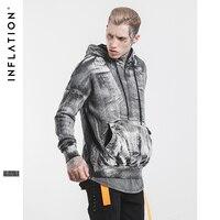 INFLATIE Mens Fashion Tie Dye Gewassen Hoge Straat Hoodies Vintage Losse Hip Hop Hooded Pullover Mannelijke Tops Hoodies 505W17