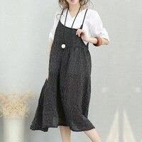 2018 Summer Women Striped Dress Sexy Spaghetti Strap Sleeveless Midi Dresses Casual Loose Fashion Plus Size