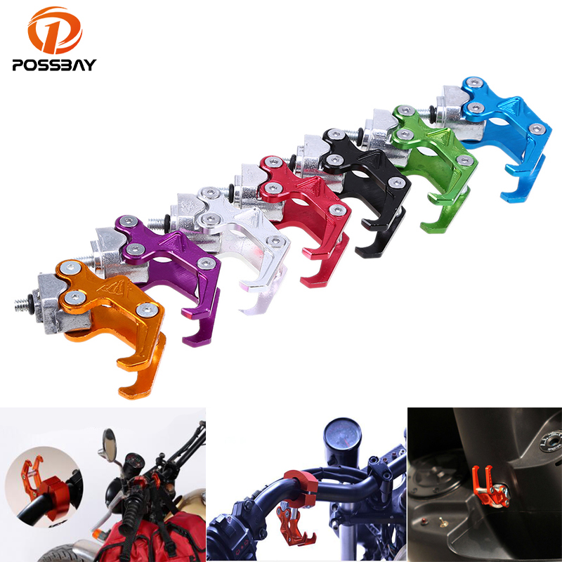 POSSBAY CNC Motorcycle Hook Luggage Bag Hanger Aluminum Alloy Helmet Claw Hook Bottle Carry Holder ATV Moto Accessories spirit beast motorcycle hook mineral water stent multi functional bracket electric helmet hook general beverage bottle rack