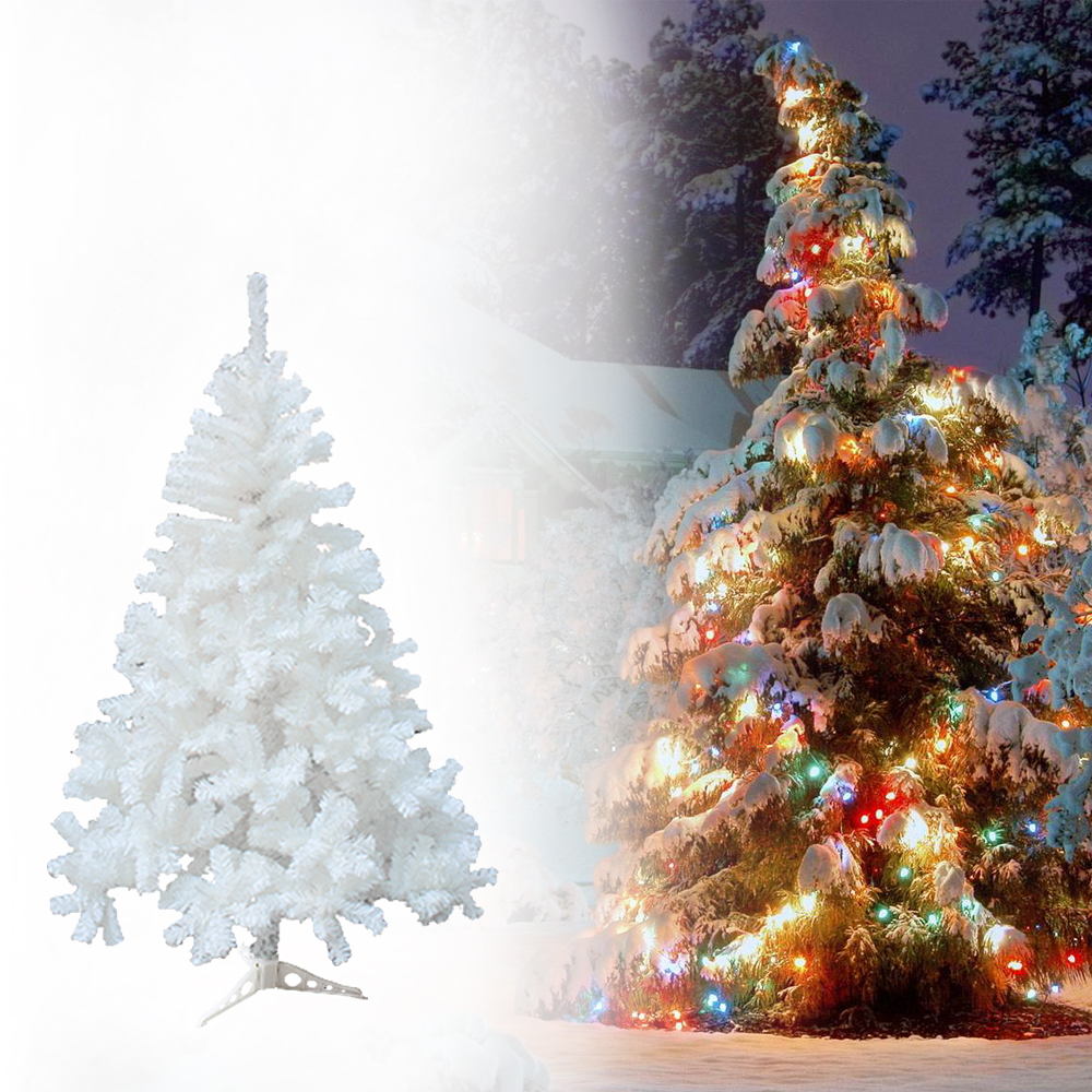 White Xmas New Year Tree Traditional Indoor Artificial Christmas ...