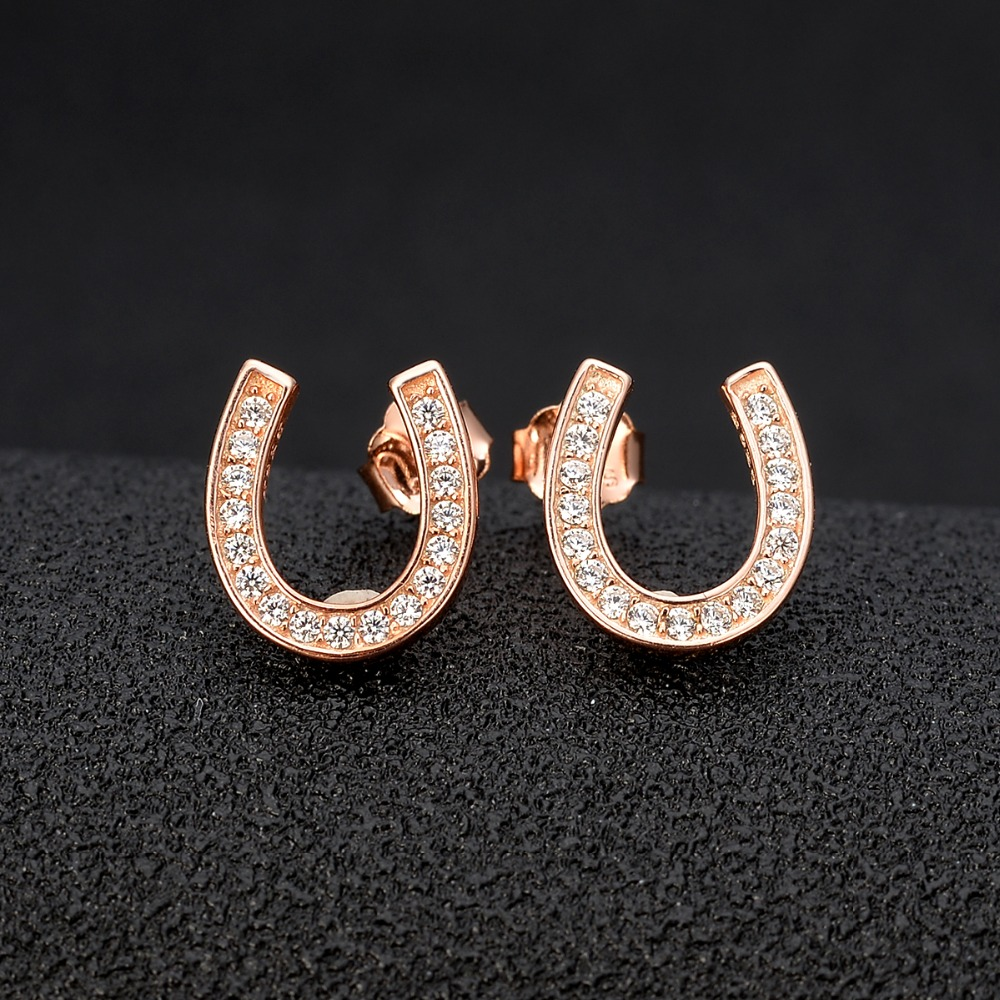 Bella Fashion Lucky Horseshoe Bridal Earrings 925 Sterling Silver Cubic Zircon Stud Earrings Party Silver/Gold/Rose Gold bella fashion 925 sterling silver lucky horseshoe bridal necklace cubic zircon pendant chain necklace for wedding party jewelry