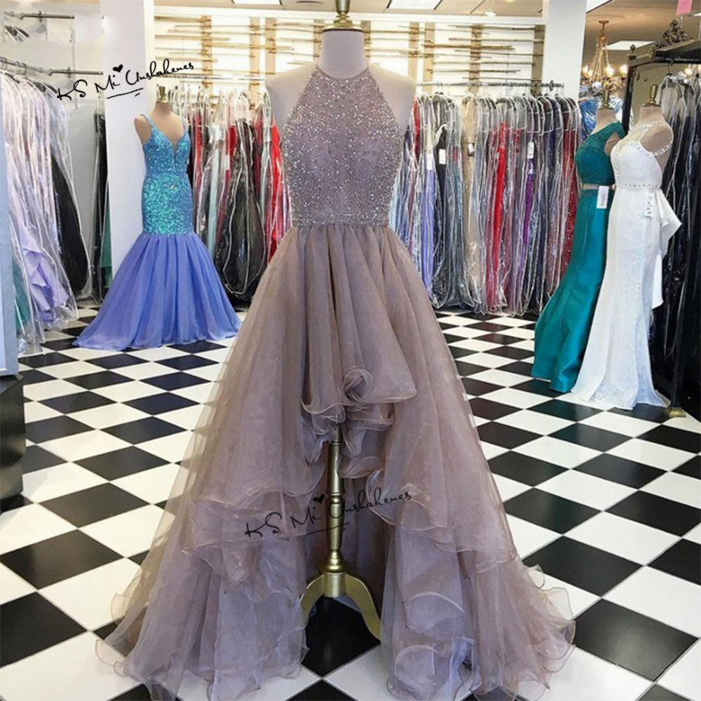 Brown High Low   Prom     Dresses   2019 Organza Beads Vestido de Formatura Designer Formal Special Occasion Party Evening Gowns Gala