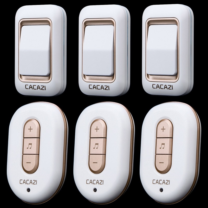 ФОТО 3 transmitters+3 receivers 300M remote control digital elderly pager waterproof home plug-in AC 110-220V Wireless Doorbell