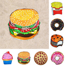 Fashion Chiffon Beach Towel Tapestry Mat Blanket Home Decor 3D Print Round Large Pizza Friut Pattern Sport Swimming Pool Towel(China)