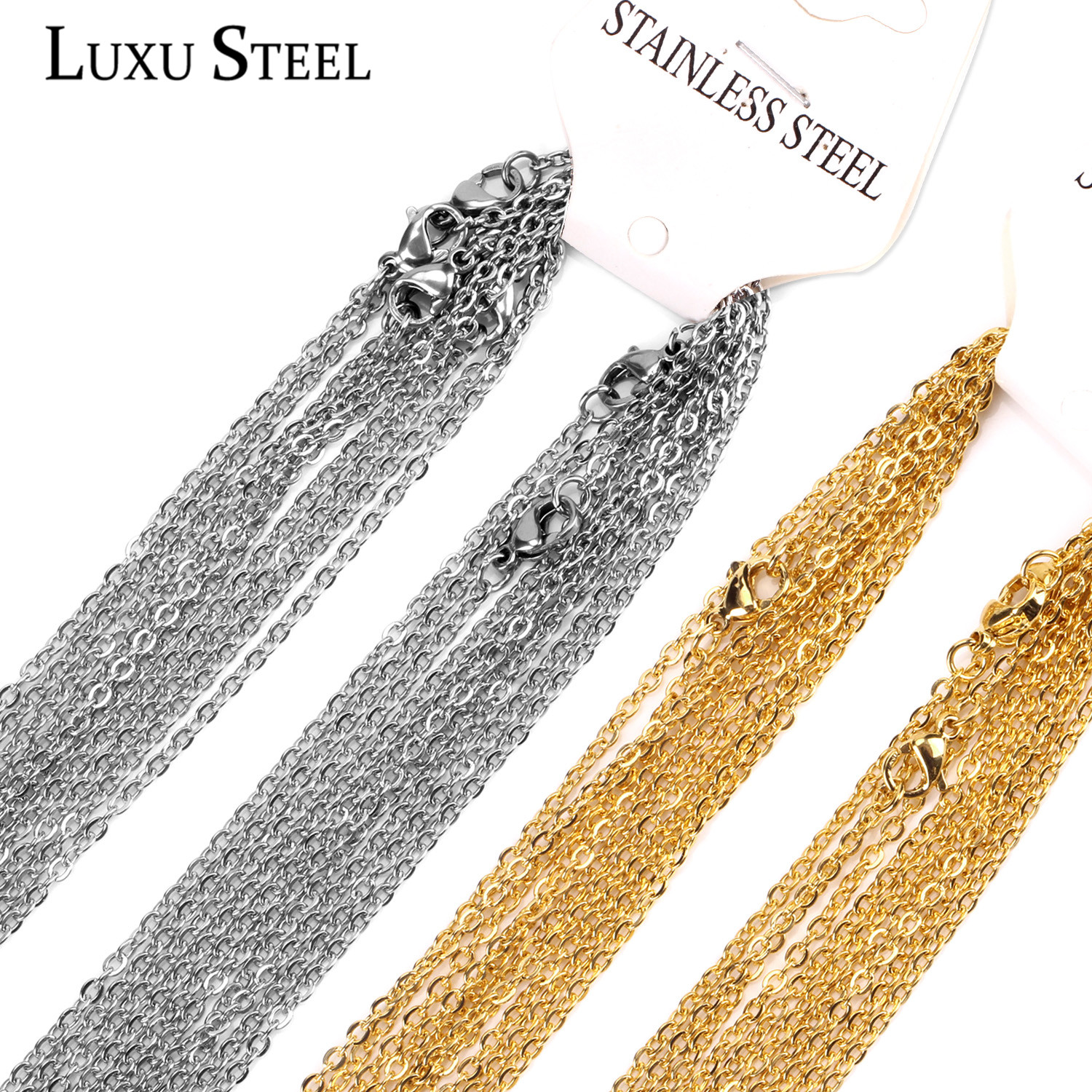 LUXUSTEEL Gold Chain Necklaces 10pcs/lot 2mm/1mm Stainless Steel Rolo Link Cuban Chain Long Necklace Pendants DIY Jewelry Party