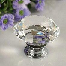 Модная 40 мм прозрачная Алмазная форма цинковый сплав и Хрустальное стекло Потяните ручку шкафа ящика двери Мебельная ручка
