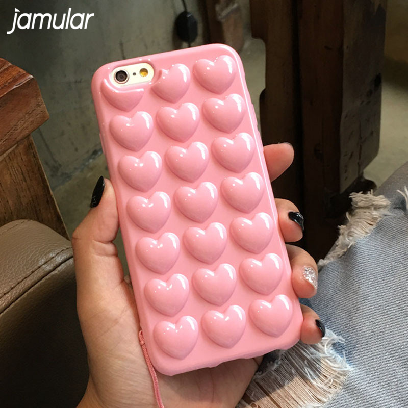 JAMULAR Heart Jelly Phone Case untuk iphone X XS MAX XR 6 6s Plus Cover Candy Anti-knock Silicone Case For iphone 8 7 Plus Funda