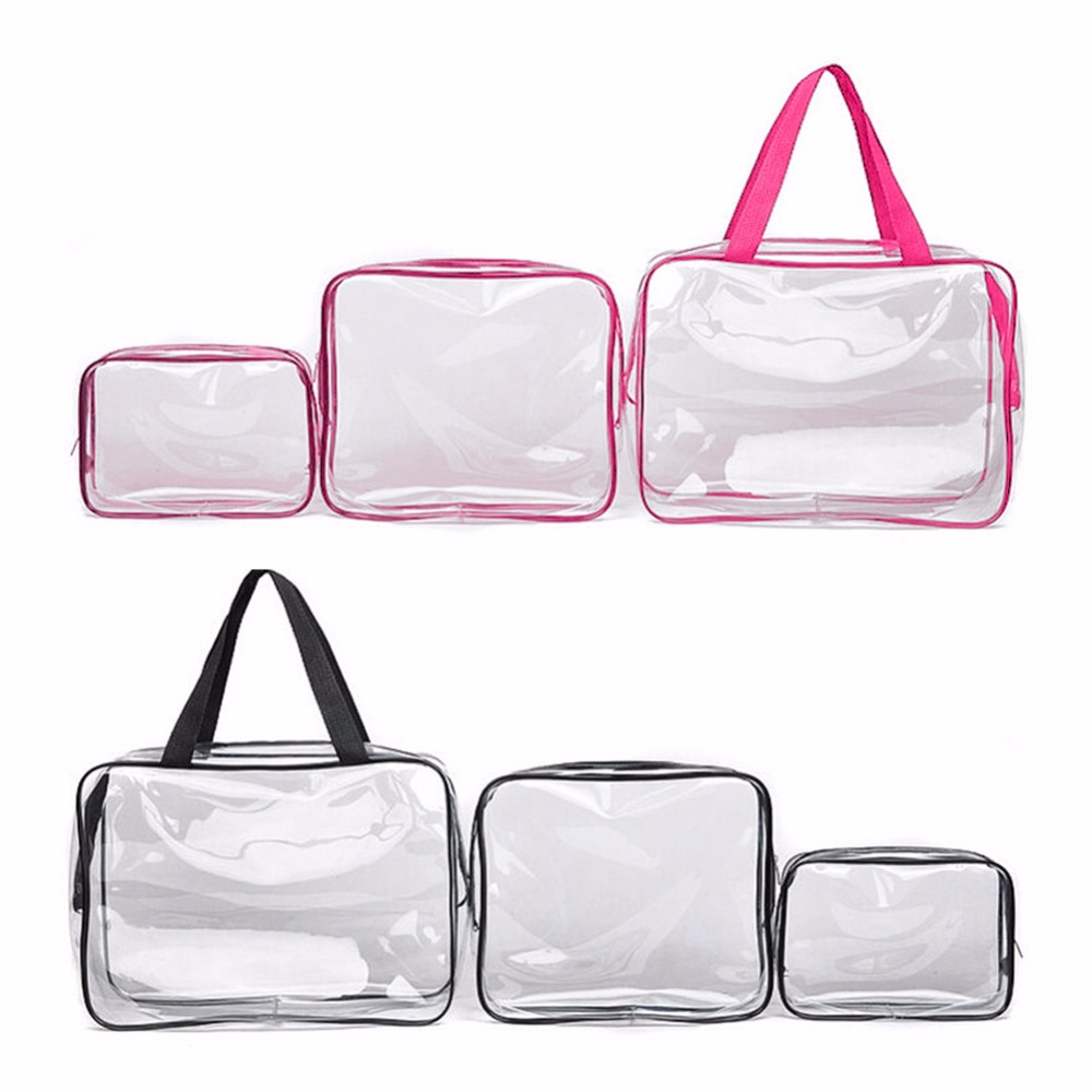 3PCS/Set Waterproof Transparent Cosmetic Bag Women Portable Toiletry Kits Cosmetic Organizer Brand Make Up Bags Fast Shipping