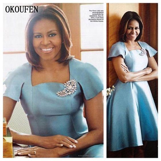 Short Mother Of The Bride Dresses 2019 Cap Sleeve Asymmetric Blue African Square Vestido De Madrinha Farsali For Weddding Brooch