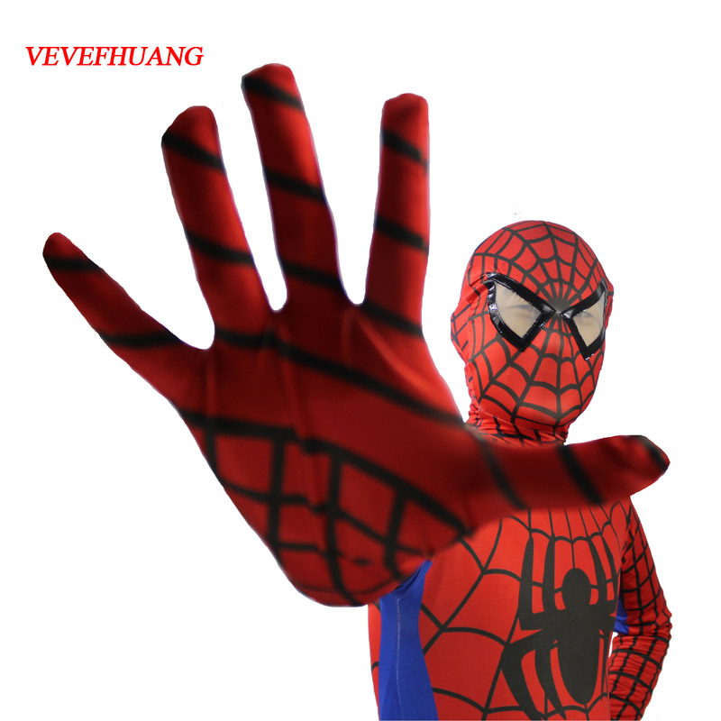 VEVEFHUANG Red Black Spiderman Costume Spider Man Suit Spider-man Costumes Adults Children Kids Spider-Man Cosplay Clothing