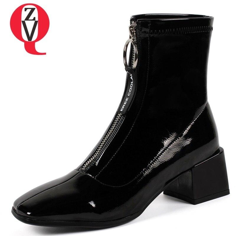 Invierno Tacón Cremallera white Black Y Nueva Alto Cuero Del Negro Blanco Cálido Zapatos Moda Pie Tobillo 2018 Cuadrado Mujeres Dedo De Botas Las Zvq pq7AwUnTf
