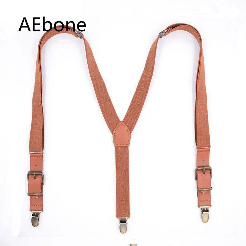 AEbone Plain Suspenders Boys Kids 75*2.5cm Vintage 3 Clip Suspenders For Children Kids Baby Brown Navy Tirantes Bebe Sus35