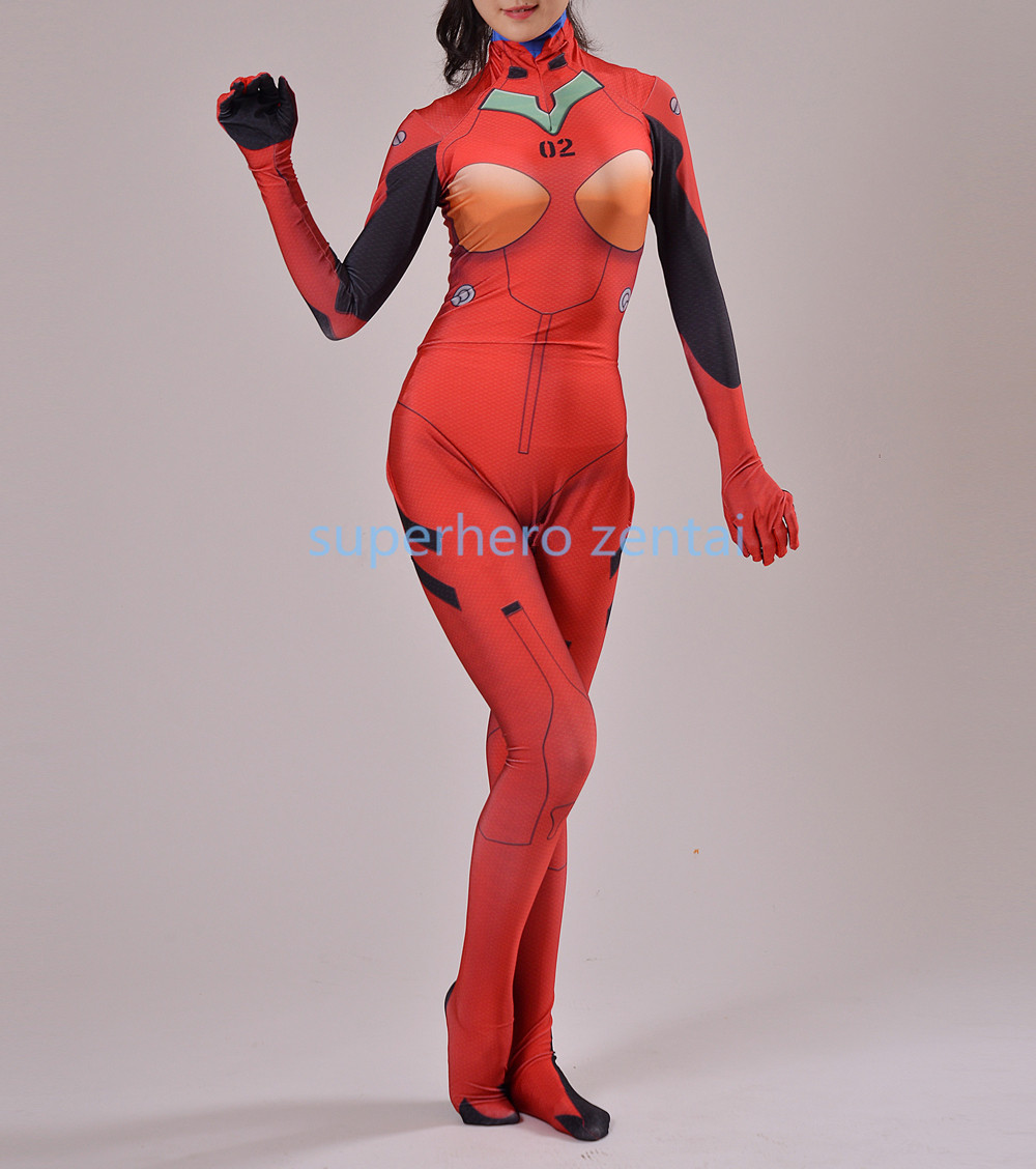 New Neon Genesis Evangelion Asuka Langley Soryu Cosplay Costume 3D Print Anime EVA Asuka Zentai Bodysuit Women/Girls/Lady Tights