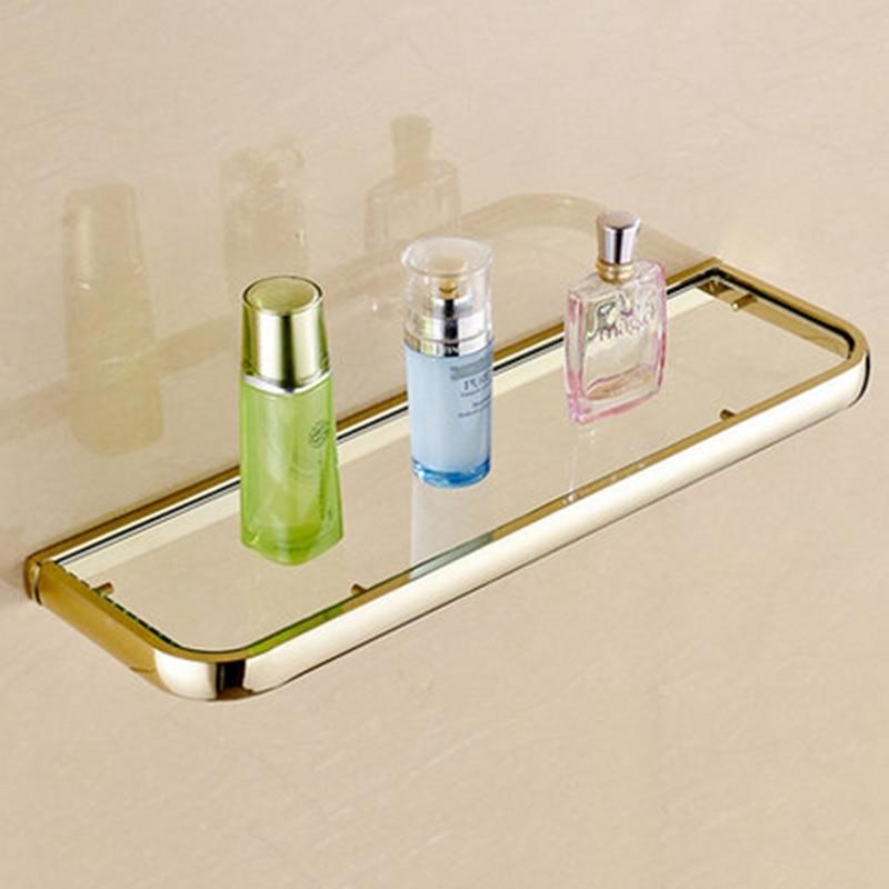 modern wall mounted golden and glass bathroom shower commodity shelf holderchina mainland