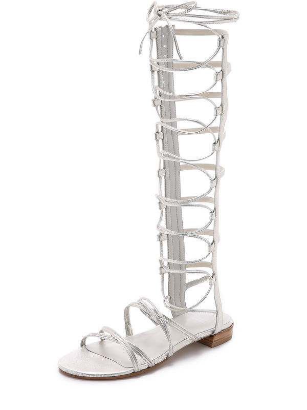Knee high women Summer boots gladiator sandals silver gold white black khaki colors for selection open