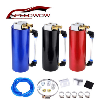 SPEEDWOW Universal 450ml Aluminum Racing Oil Catch Tank Can Round Can Reservoir Turbo Oil Catch Can Fuel Catch Tank chrome aluminum double hole 19mm oil catch tank racing oil can catch tank can oil catch tank oil catch can