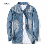 Tsingyi Light Blue Casual Teens Denim Jacket Whiten Blue Jacket Men Turn Down Collar Long Sleeve