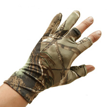 Summer Ultra-thin Sunscreen Elastic Fishing Gloves Three Fingers Cut Breathable Anti-Slip Bionic Camouflage Hunting Gloves