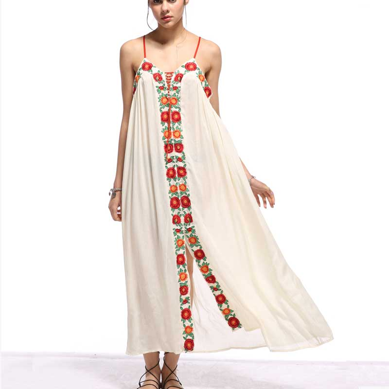 Boho Inspired Summer Dresses Strapless floral embroidery sexy White maxi Dress long women Dresses hippie chic Vestido Robes