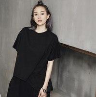 Cakucool Summer Solid Black White t shirt Tops Women Short Sleeve O neck Gothic Tee shirt Asymmetic Loose tshirt Femme Plus size