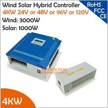 4 кВт(3 кВт ветер+ 1 кВт Солнечный) 24 В/48 В/96 в/120 В ветряной солнечный гибридный контроллер с бесплатной нагрузкой на свалку для гелевой, герметичной или затопленной батареи