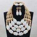 Luxo 4 Camadas Branco Beads Africanos Conjunto de Jóias Banhado A Ouro Dubai Nupcial WD789 Declaração Mulheres Jóia Set Frete Grátis