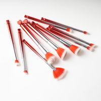 10Pcs Love Heart Tower Pencil Foundation Eye Shadow Professional Makeup Brushes Set Red Concealer Eyebrow Brush