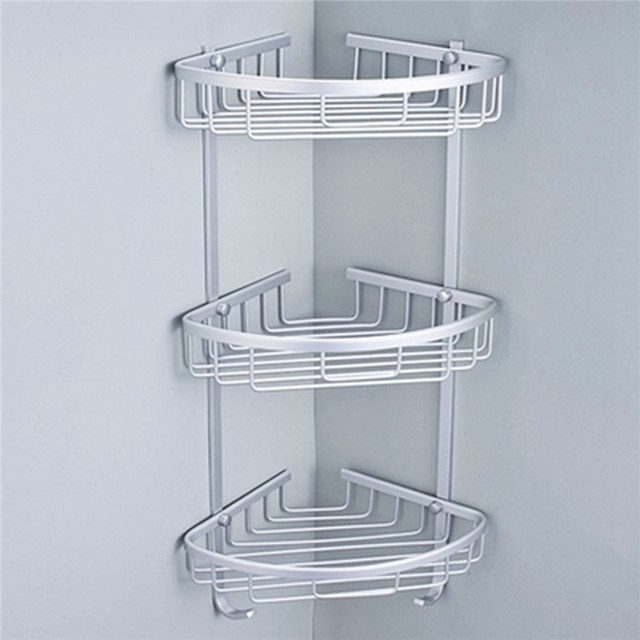1/2/3 Layer Space Aluminum Bathroom Corner Shelf Triangular Shower Sh&oo Soap Cosmetic & 1/2/3 Layer Space Aluminum Bathroom Corner Shelf Triangular Shower ...