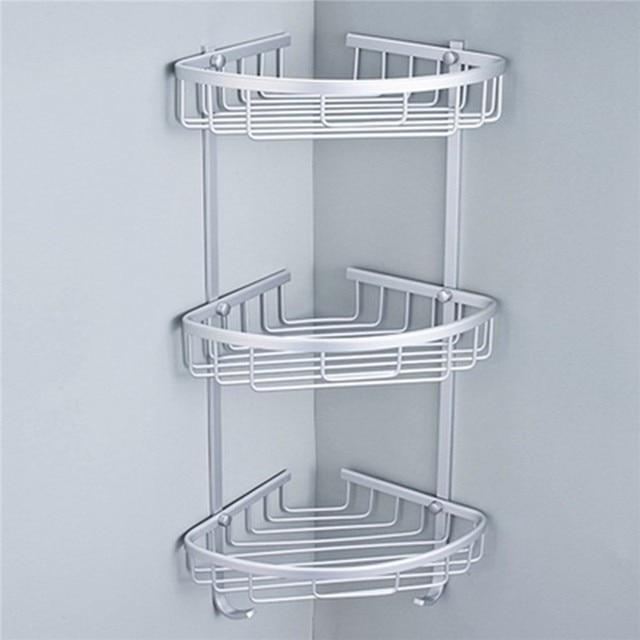 Ordinaire 1/2/3 Layer Space Aluminum Bathroom Corner Shelf Triangular Shower Shampoo  Soap Cosmetic