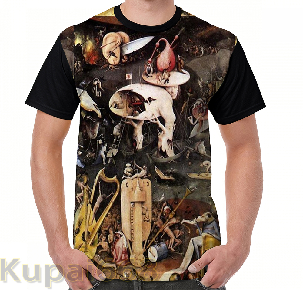Funny Graphic Print T Shirt Men Tops Tees Hieronymus Bosch The Garden Of Earthly Delights Women T-Shirt Short Sleeve Tshirts