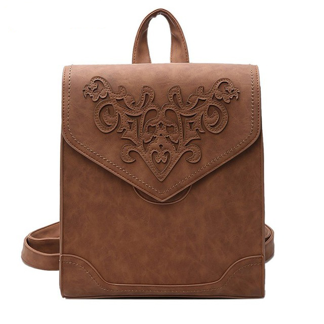 Fashion Women Leather Backpack Female Floral Bag Ladies Softback Character Embossing Backpacks Mochilas Mujer School Style D52Fashion Women Leather Backpack Female Floral Bag Ladies Softback Character Embossing Backpacks Mochilas Mujer School Style D52