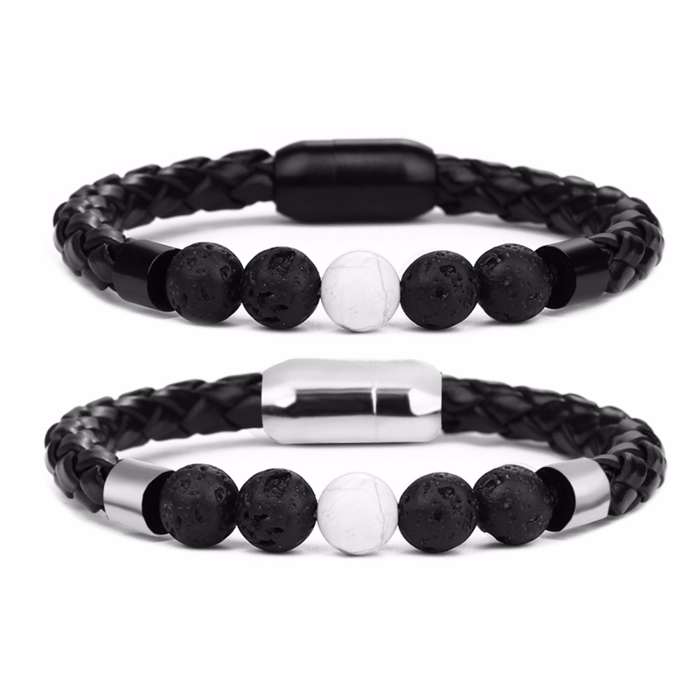 Louleur Fashion Genuine Leather Bracelet Men Lava Stone Stainless Steel Bracelets Braided Rope Chain for Male Jewelry Vintage