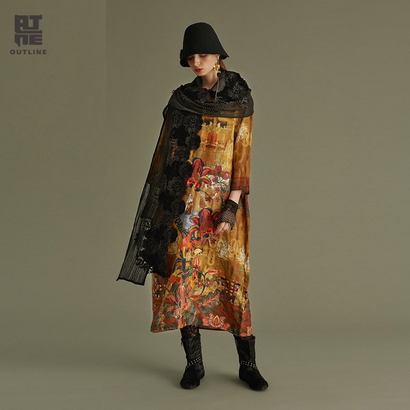 Outline Women Floral Autumn Casual Dresses O Neck Three Quarter Pockets Embroidery 100 Linen Print Loose