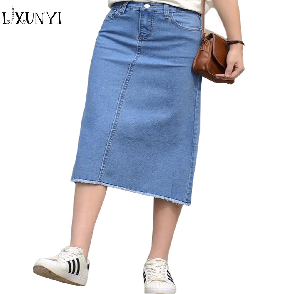 Cheap Long Plus Size Jean Skirts - Jon Jean
