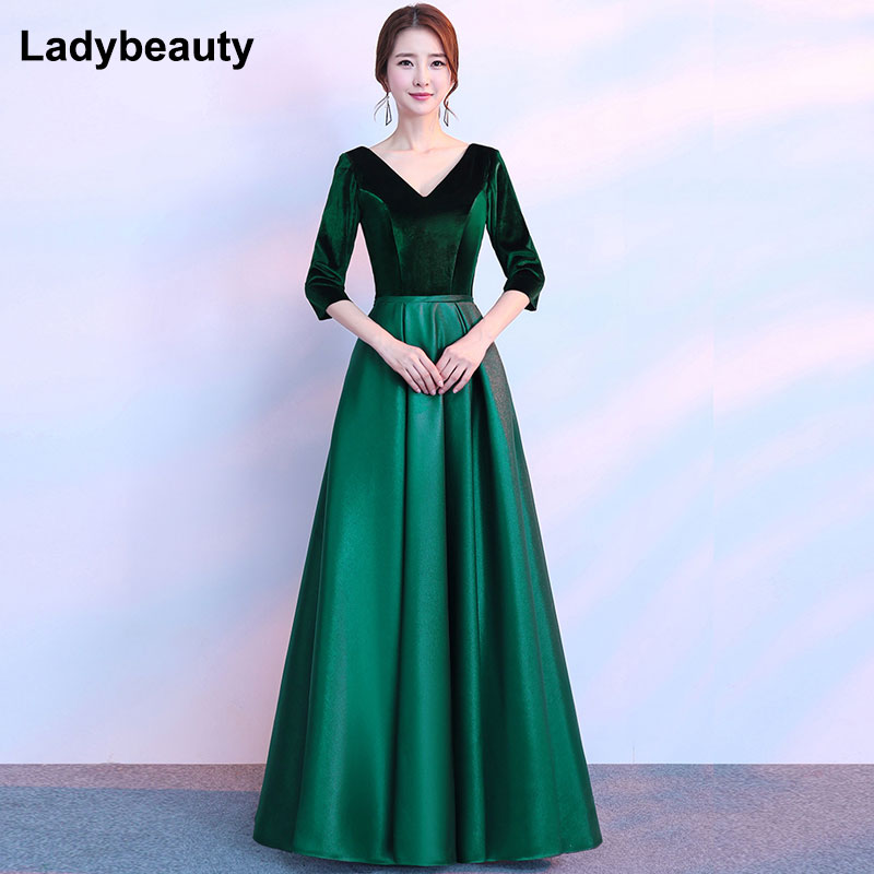 9fa0ec432 Ladybeauty New Arrival Long Sleeves Evening Dress 2018 Prom Party Dresses V  Neck Long Formal Evening Gowns-in Evening Dresses from Weddings & Events on  ...