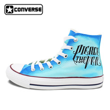 Men Women Sneakers Converse Pierce the Veil Design Hand Painted Shoes High Top Blue Canvas Sneakers