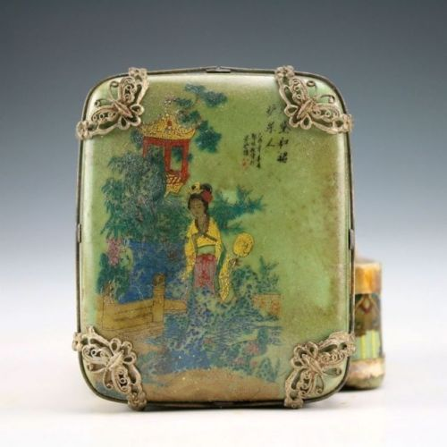 Exquisite Chinese Vintage Handwork Tibetan Silver Inlaid with Porcelain Dragon Belle Jewel Box ...