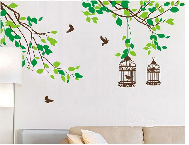Us 13 0 Tree Branch Bird Cage Kids Removable Home Decoration Wall Stickers Family Bathroom Bedroom Decor Mirror Painting Wall Art Paper في Tree