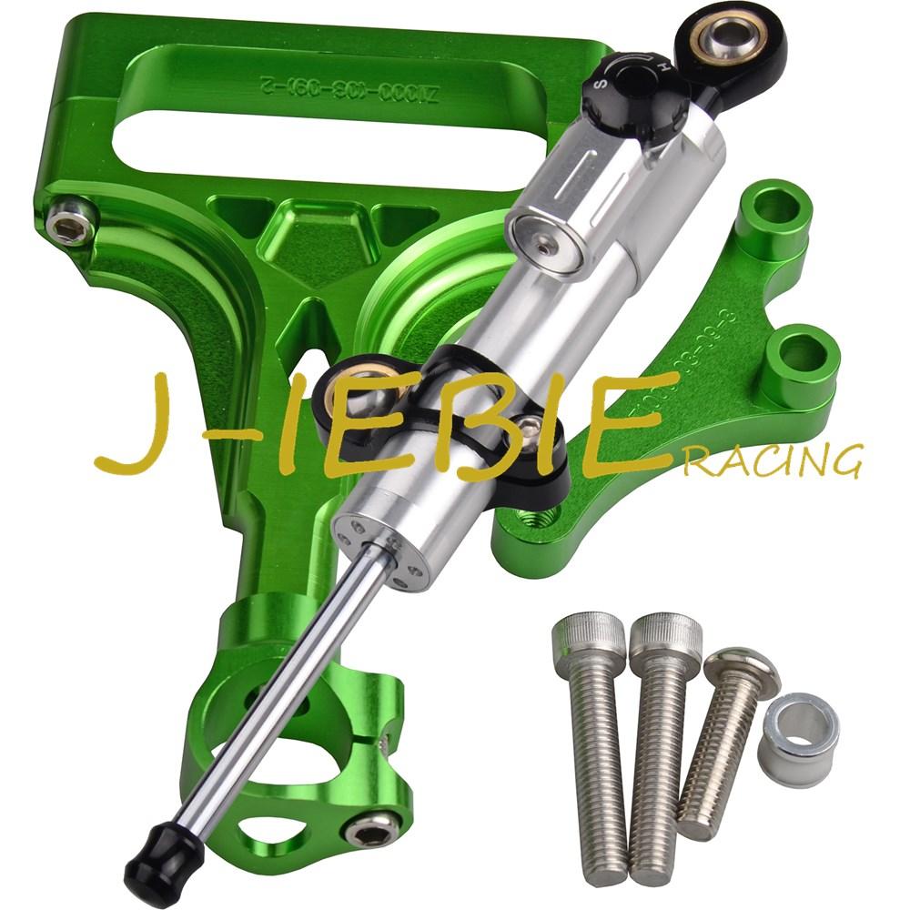 CNC Steering Damper Stabilizer and Green Bracket Mounting For Kawasaki Z1000 Z750 2003-2009 2004 2005 2006 2007 2008  cnc aluminium steering stabilizer damper mounting bracket for suzuki gsxr1000 gsxr 1000 k7 2007 2008