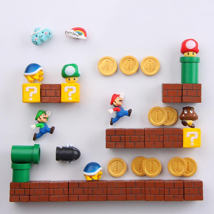 1 Set Mini Super Mario Fridge Magnets Toys Mario Bros Figurine Figura Magnetive Stickers Toys Mario Question Brick Metal Magnets lekebaby baby travel stroller mom mummy maternity changing nappy diaper bag backpack organizer bolsa maternidade bolso maternal