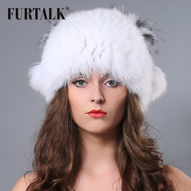 Luxury fashion fur talk design natural silver fox fur bobble hat hand  knitted winter fur hat for women-in Skullies   Beanies from Apparel  Accessories on ... be7ae2c1925