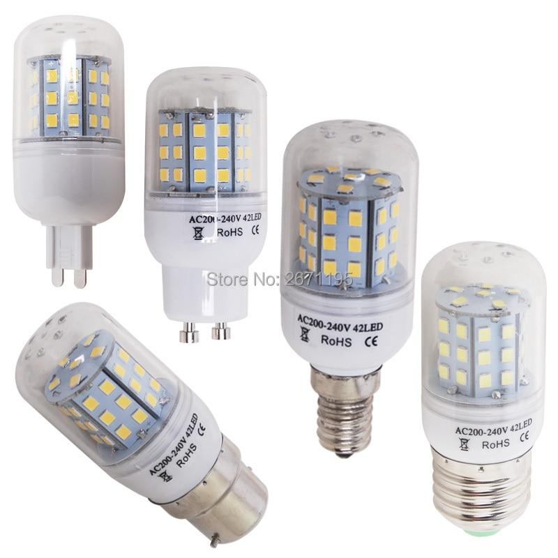 G9 B22 GU10 E27 E14 LED Corn Bulb Dimmable AC 220V 2835 SMD Candle Replace Halogen lamp Chandelier Light 24 42LEDs g9 10w 152 smd 3014 1050lm dimmable led corn bulb ac 220 240v