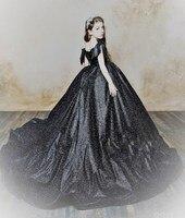 Черные блестящие платья для девочек для свадьбы с v образным вырезом с бантом длинным шлейфом для Девочек Пышные вечерние платье День рожде