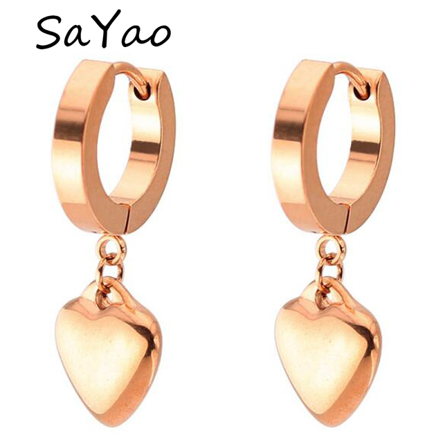 Sayao 2 Piece Rose Gold Stainless Steel Hoop Earring Cute Small
