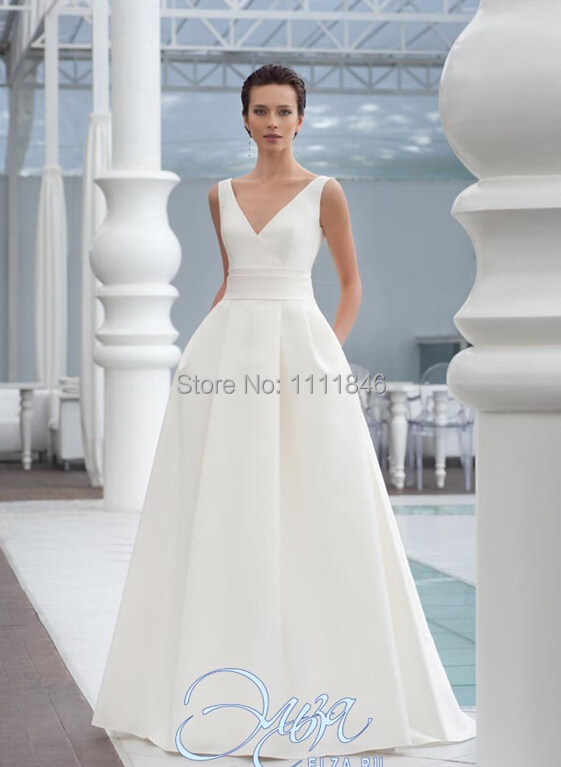 2015 Elegant Satin A Line Simple Wedding Dress With Bow V
