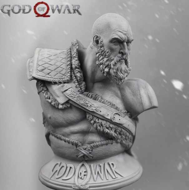 1/3 Scale Resin Bust height 27.6cm god of war 4 Greek war god Kratos Unpainted Figure Model Kit Free Shipping.